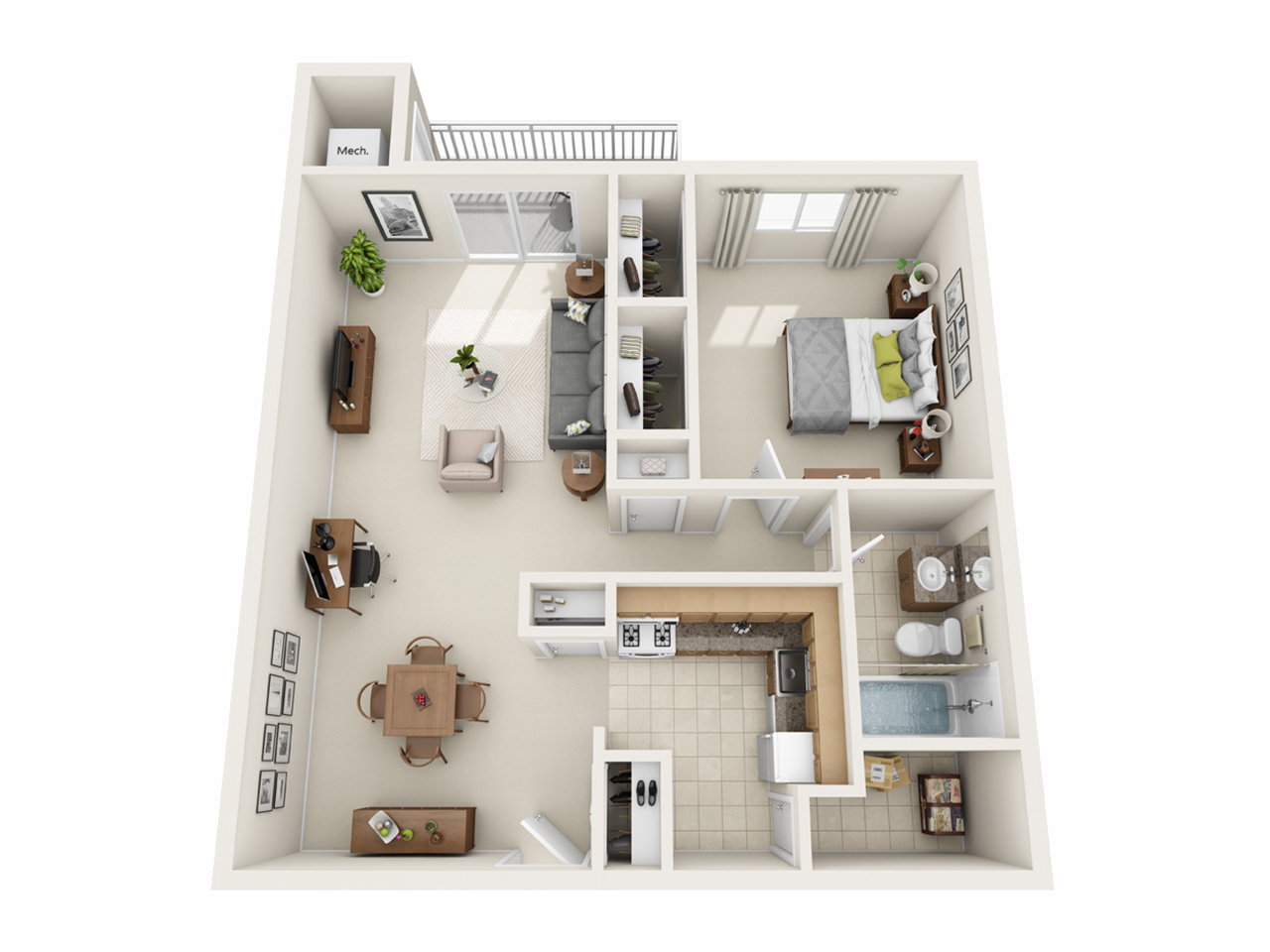 One Bedroom Apartment (Large) - LaVale Apartments